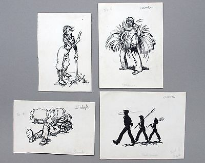 Mercy Creed. Fine early 20th ink book illustrations. humorous, farming, Drawings