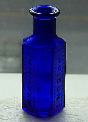 Old cobalt blue coffin shaped Dominion Glass 1oz POISON bottle *FREE SHIPPING!