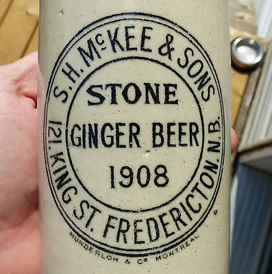 Antique 1908 Fredericton, NB 'S.H.McKee' stone ginger beer bottle FREE SHIPPING!