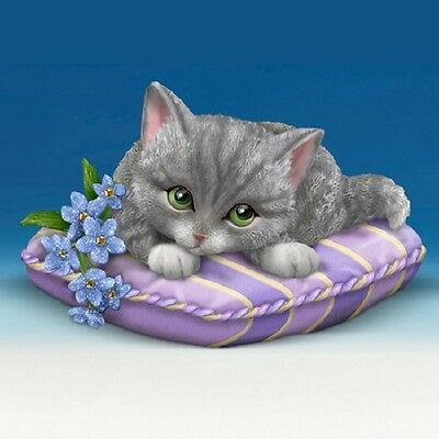 Love Never Forgets Kitty Purple Cat on Pillow  Figurine Bradford Exchange