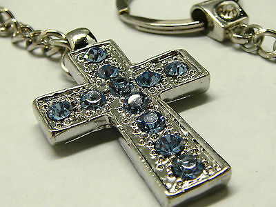 Lot of 2 pcs silver plated metal holy cross with baby blue diamonte keyring