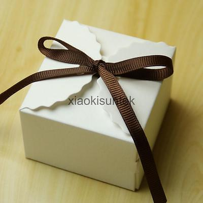 50PCS White Kraft Square Chocolate Candy Gift Boxes Wedding Party Favor Box