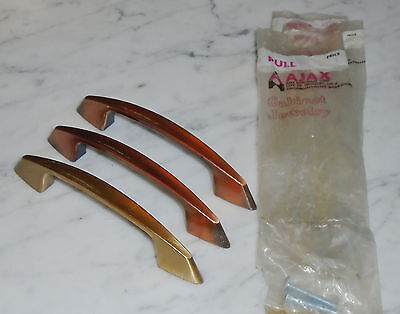 3 Vintage MCM Ajax Concave Copper & Gold Cabinet Drawer Pull Handles - 5inch