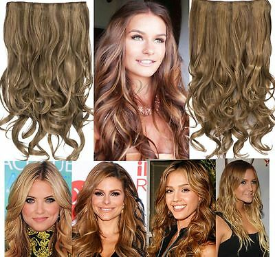 Womens Clip in Long Curly Highlights One piece Hair extensions Koko Uk - G1C
