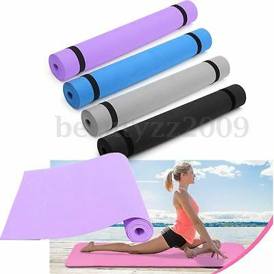 3mm 180x60cm Thick Non Slip Yoga Mat Exercise Fitness Physio Pilates Camping Gym