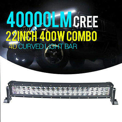 """400W 22"""" 24"""" Led Light Bar Curved 4D Spot Flood CREE Combo Offroad Truck 4WD N5"""