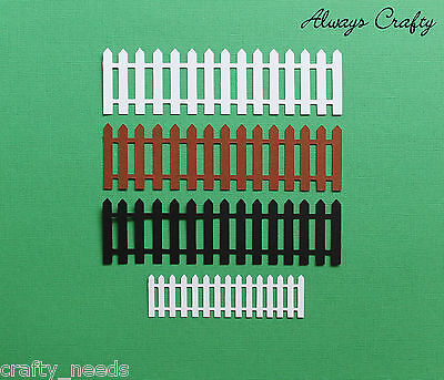 6PC- Picket FENCE Silhouette Paper Die Cuts, Scrapbooking, Card Making