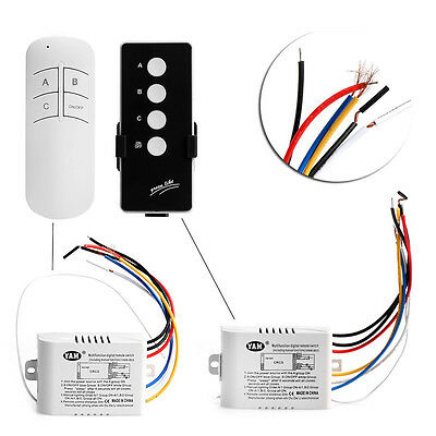 3 Way Port ON/OFF Wireless Digital Remote Control Light Wall Switch 200V-240V