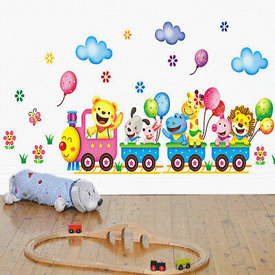 Safari Animals Train Wall Stickers Nursery Decor Baby Kids Art Mural Removable