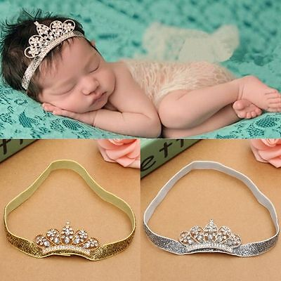 Baby Girls Princess Tiara Pearl Crystal Crown Headband Hair Band