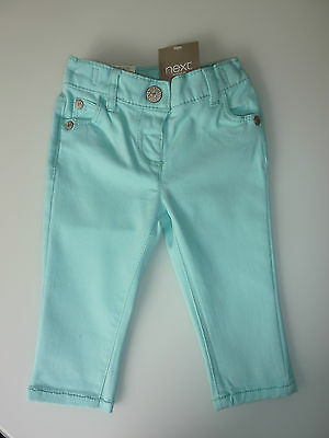 NEXT Little Girls Aqua Jeans with Adjustable Waist  NWT