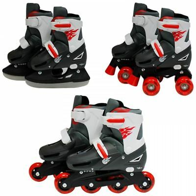 SK8 Zone Boys Red 3in1 Adjustable Roller Blades Inline Quad Skates Ice Skating