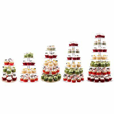 Acrylic Christmas Wedding Birthday Buffet Party Cake Tower Stand Display 3-7Tier
