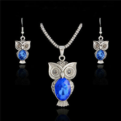 Retro Cute Crystal Gem Rhinestone Owl Jewelry Set Pendant Necklace/Earrings