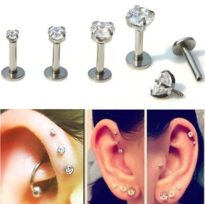 CLEAR CRYSTAL LABRET 6mm 8mm 10mm BAR MONROE 16G LIP RING STUD PIERCING