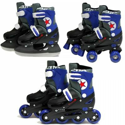 SK8 Zone Boys Blue 3in1 Adjustable Roller Blades Inline Quad Skates Ice Skating