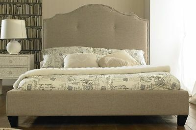 Upholstered Valencia Fabric Bed Beige Double 4Ft6 Inch Brand New Stock Clearance