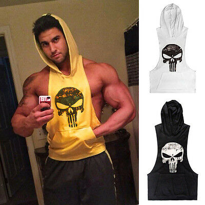 Mens Gym Bodybuilding Muscle Hoodie Singlet Punisher Skull Tank Top Fitness Vest