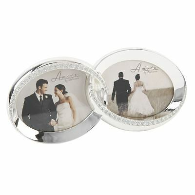 """Amore By Juliana - Wedding Gift - Double Ring Photo Frame - 3""""x2"""" - FS432 - New"""