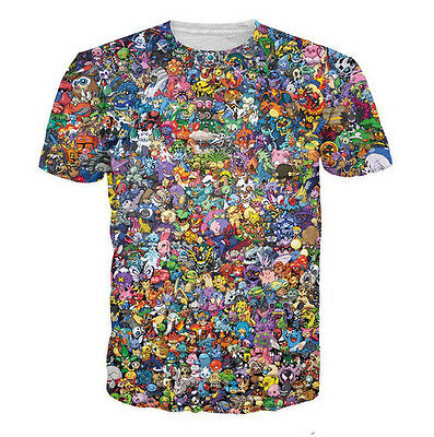Hot Sale!New Fashion Women/Mens Cartoon Pokemon Collage Funny 3D Print T-Shirt