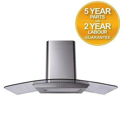 SIA CP111SS 110cm Curved Glass Stainless Steel Cooker Hood Extractor Fan