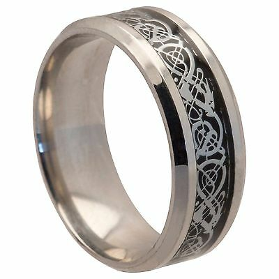 NEW Silver Stainless Steel Celtic Mens Wedding Ring Womens Band (Sizes K to Z)