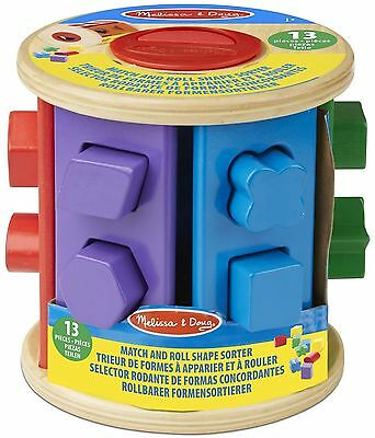 Melissa & Doug MATCH AND ROLL SHAPE SORTER Colourful Wooden Baby Toy/Gift BN