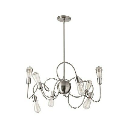 Dainolite 8 Light Pendant, Satin Chrome Finish w/ Vintage Bulbs - WAI-308P-SC