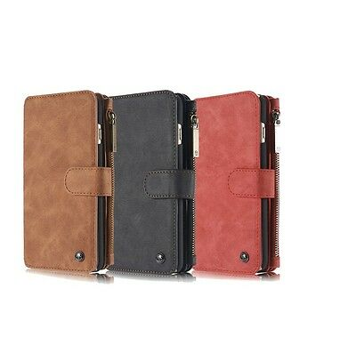 Genuine Leather Case Cover Zipper Wallet Card Multi-function For iPhone/Samsung