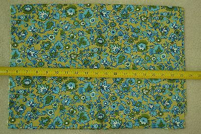 "29"" Long, 36"" Vintage 1940's-60's Old-Gold Floral Quilter's Cotton M5954"