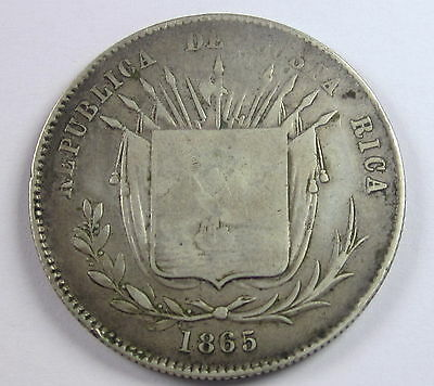 Costa Rica 50 Centavos 1865, Circulated, Uncirculated