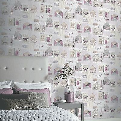 Ps I Love You Wallpaper - Lilac - Arthouse 671201 Butterflies