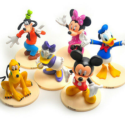 6 pcs/ set Mickey Mouse Figures Minnie Donald Toy pedestal furnishing articles