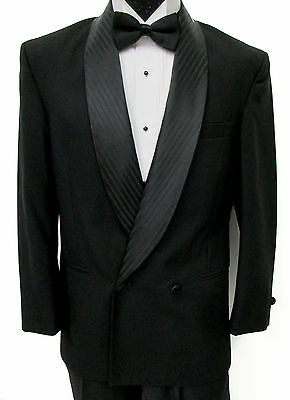 Black Double Breasted Satin Shawl Tuxedo Jacket Wedding Mason *Made in USA* 40R