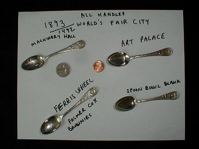 Four 1893 World's Fair City Spoons Columbia Expo Souvenir Palmer Cox Brownies