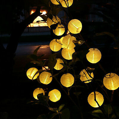 Solar 10 LED Chinese Flash Hanging Lantern String Light Outdoor Garden Yard Lamp