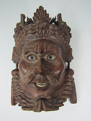 old Carved Asian Strict Man w/ Dragons Exquisite Detailing Eyes Teeth -ma5
