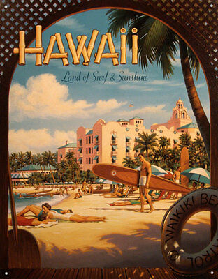 Hawaii Tin Sign By Kerne Erickson - 12.5x16