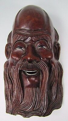 old Carved Asian Wise Man Exquisite Detailing Eyes Teeth -ma1