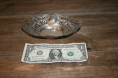 800 Silver Oval Tray Nut Dish Lace Pierced Silver Bowl Repouse Antique Hallmark