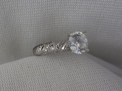 Signed Sterling Silver & 1.25 Carat Round Cz Ring W/ Bead & Cz Accent - Size 6