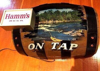 Hamms On Tap Cut Out Barrel Light Beer Sign vintage Hamms Beer Sign antique rare