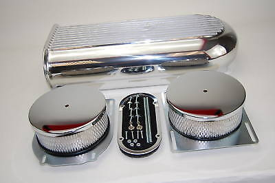 "Polished Dual Quad / Carb 20"" x  5"" Finned Style Scoop Hot Rod Rat Rod Custom"