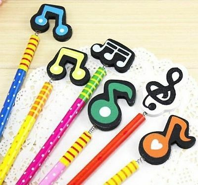 FD2527 Colorful Music Note Wooden Pencil Pen Kawii Stationery Gift ~Random~ 1pc