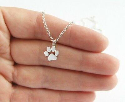 Silver Gold Plated Paw Print Bracelet Small Pet Dog Cat Charm in Gift Bag/Box