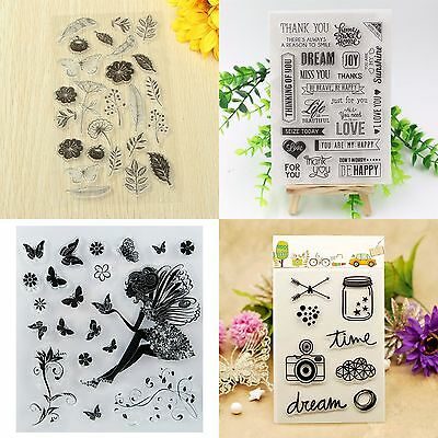 Flower Transparent Silicone Rubber Clear Stamp Sheet Cling Seal Scrapbooking DIY