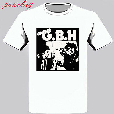 New Charged GBH Street Punk Band Men's White T-Shirt Size S-3XL