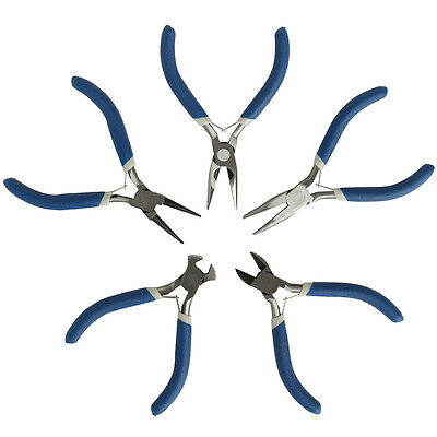 5PC Jewellery Mini Pliers Tools Kit Cutter Chain Round Bent Nose Beading Making