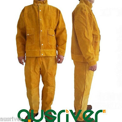 Leather Welding Jacket Coat+Trousers Protective Clothing Apparel Suit for Welder