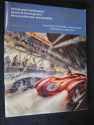 Brochure / Catalogue Coys Auction Sports & Touring Cars 28th July 2003 (JS)